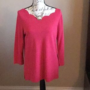 Pink Scallop Neck Boatneck Top NWOT